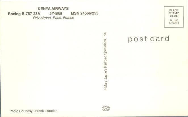 Kenya Airways Boeing B-757-23A - Orly Airport, Paris, France