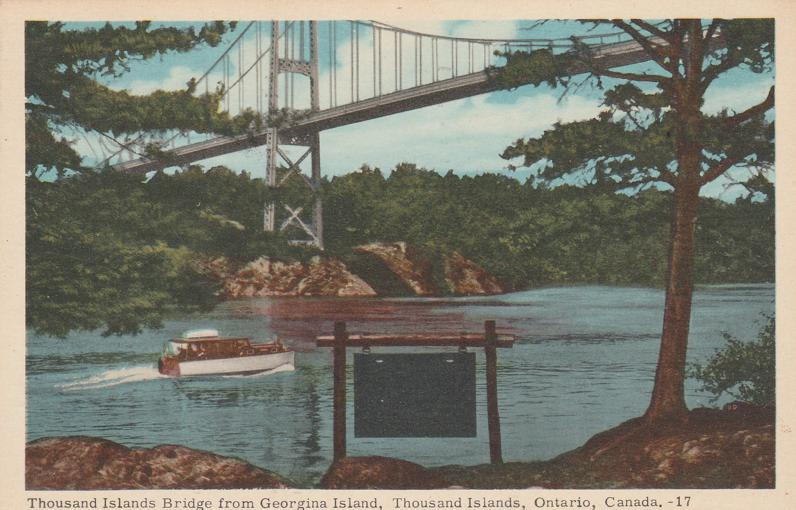 Thousand Islands Bridge from Georgina Island, Ontario, Canada - pm 1958 at Brockville - White Border
