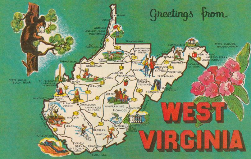 Map and Greetings from West Virginia - Black Bear and Rhododendron
