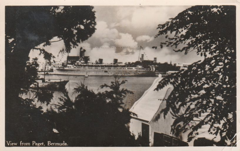 RPPC Cruise Ship from Paget, Bermuda - Queen of Bermuda per writer - Real Photo