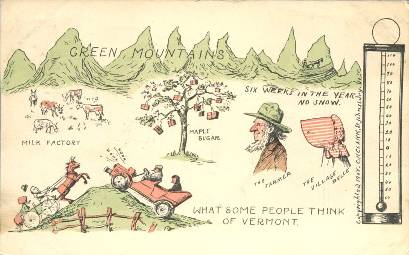 What Outsiders Think of Vermont - Milk, Maple Sugar, Snow, Mountains - Humor - Divided Back