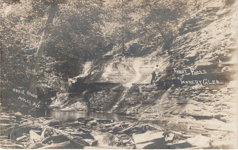 RPPC First Falls in Tannery Creek Glen near Naples New York - Real Photo