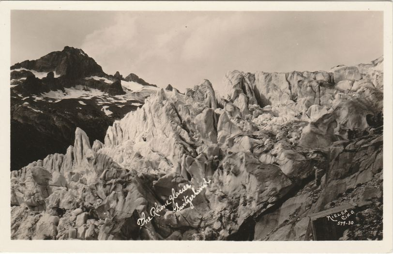RPPC The Rhone Glacier in Switzerland - Swiss Alps - Valais Canton - Real Photo