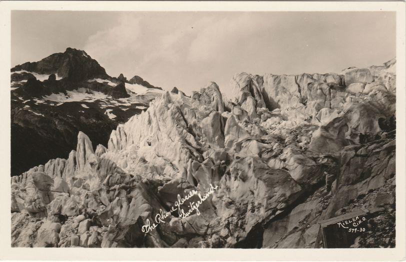RPPC The Rhone Glacier in Switzerland - Swiss Alps - Valais Canton - Real Photo