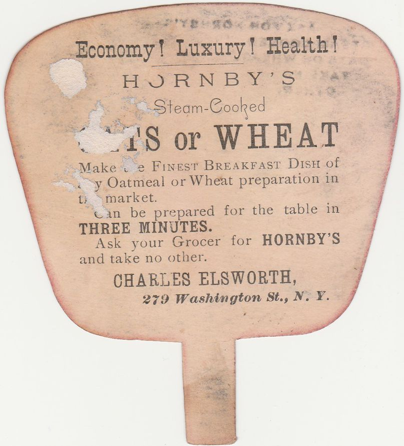 Victorian Die Cut Trade Card - Fan Shape - Hornsby's of NYC Oats and Wheat