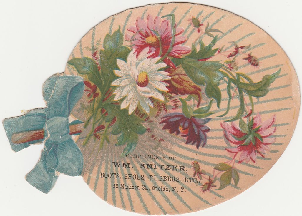 Victorian Die Cut Trade Card - Fan Shape - Snitzer Shoe Store, Oneida New York
