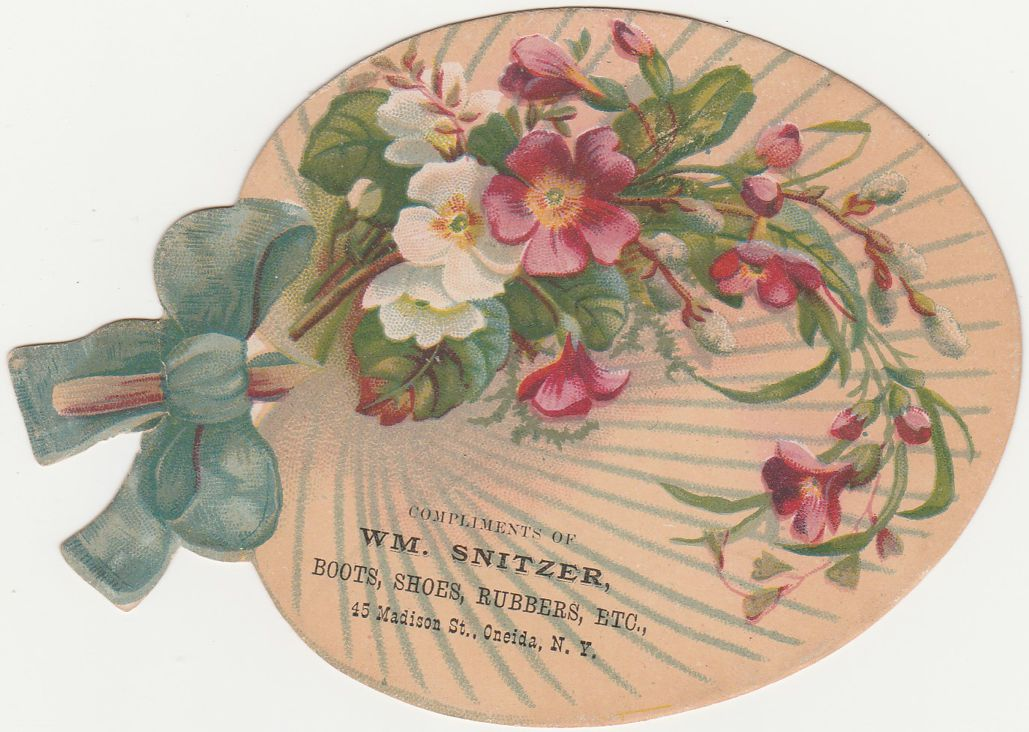 Victorian Die Cut Fan Shape Trade Card - Oneida New York - Snitzer Shoe Store