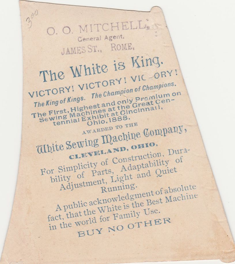 Victorian Trade Card Die Cut - Sewing Machine White is King - Sold by Mitchell of Rome NY