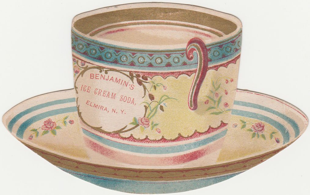 Victorian Die Cut Tea Cup Trade Card - Benjamin's Ice Cream Soda Elmira NY