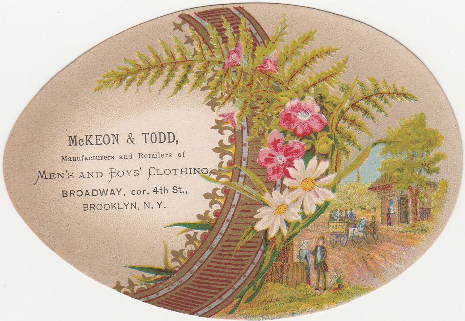 Victorian Die Cut Egg-Shaped Trade Card - McKeon & Todd of Brooklyn NY