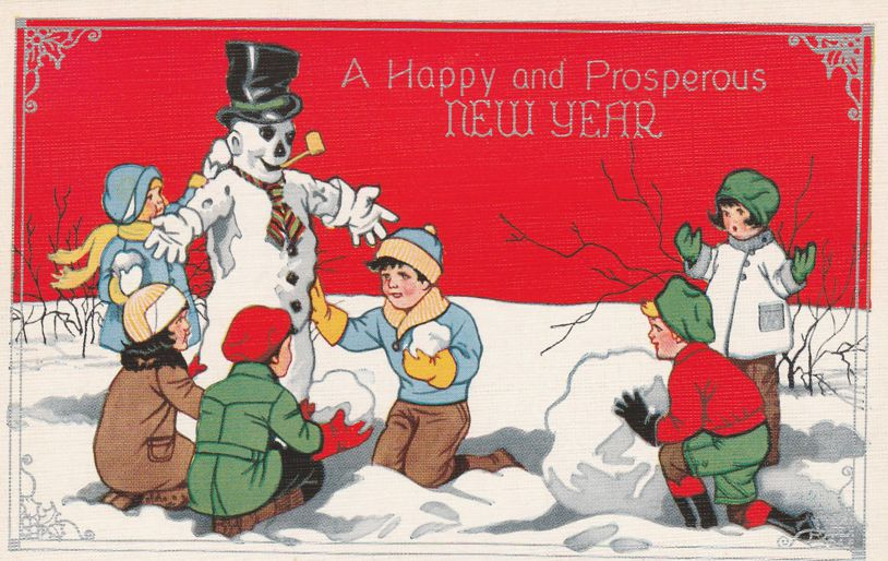 Children Building Snowman - Happy and Prosperous New Year's Greetings - Linen Card