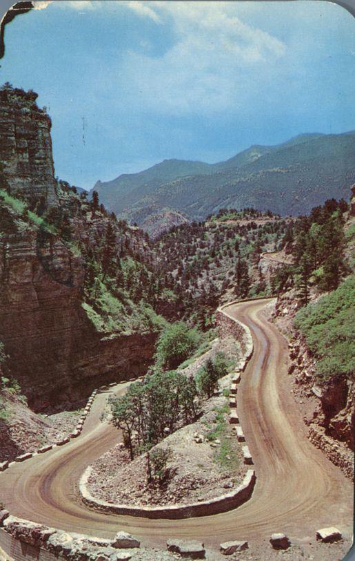 Horseshoe Curve in Williams Canon near Manitou Springs, Colorado - pm 1962 at Colorado Springs