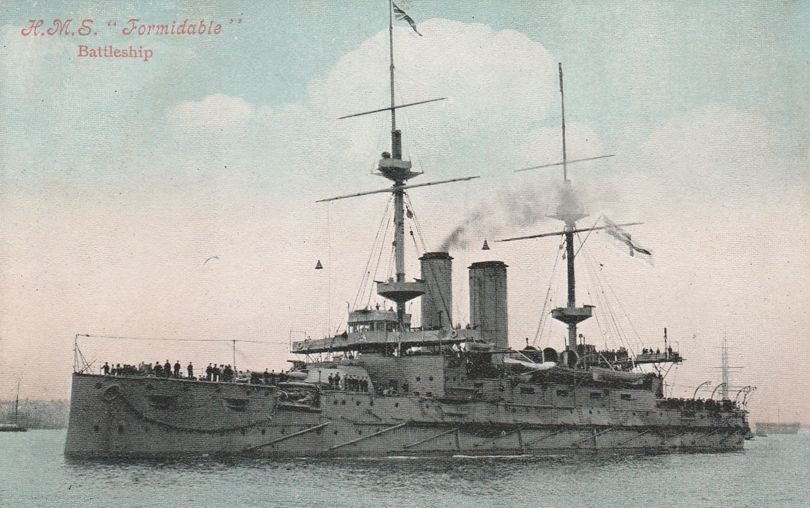 HMS Formidable - British Royal Navy Battleship - Launched in 1898 - Divided Back