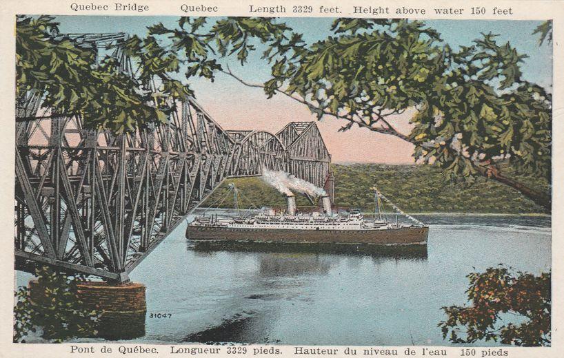 Steamer at St Lawrence River Bridge - Pont De Quebec, Quebec, Canada - White Border