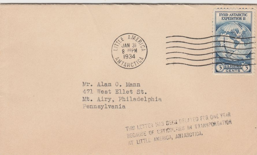 US #733 - 1934 Little America Antarctica Cover - Letter delayed one year to 1935 - pm 1934