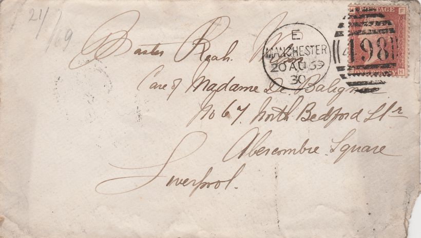 Great Britain Scott# 33 on Cover - Plate# 99 Letters H and F - pm 1869 at Manchester