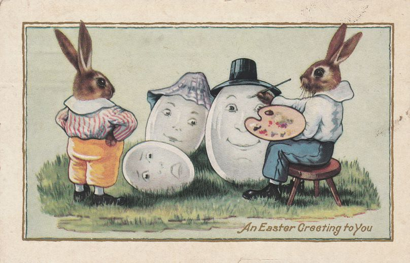 Rabbit Painting Faces on Eggs - An Easter Greeting to You - pm 1917 at Newark NY - Whitney Made - Divided Back