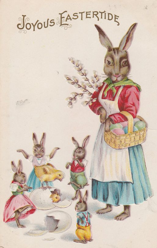 Mother Rabbit and Dancing Bunnies - Joyous Eastertide Greetings - Stecher Rochester - pm 1915 - Divided Back