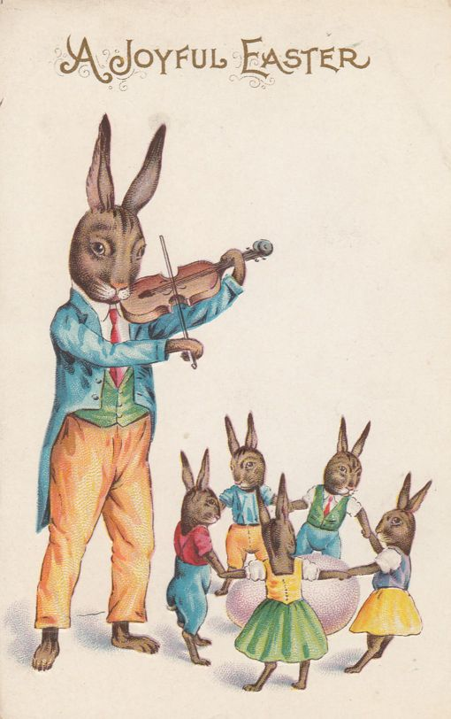 Rabbit with Violin and Dancing Bunnies - Joyful Easter Greetings - Stecher Rochester - Divided Back