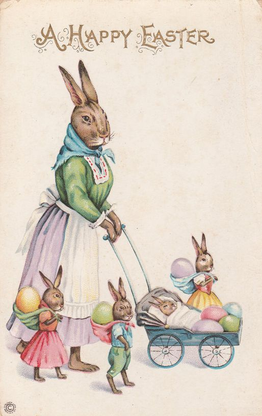 Mother Rabbit, Bunnies, and Baby Carriage - Happy Easter Greetings - Stecher Litho - Divided Back