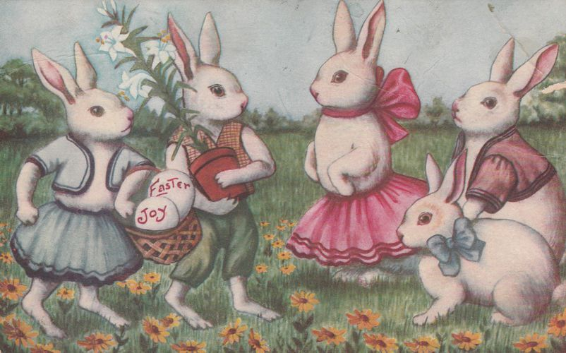 Dancing Bunnies for Easter Joy Greetings - Divided Back