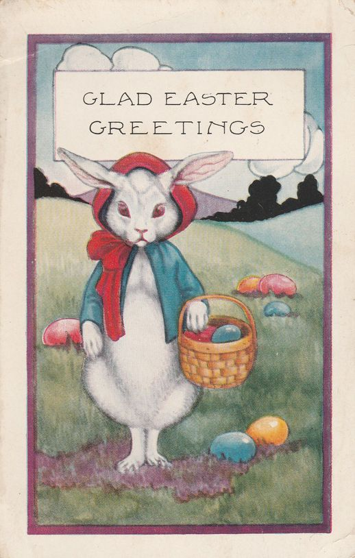 Mother Rabbit with Basket of Eggs - Glad Easter Greetings - Whitney Made - Divided Back