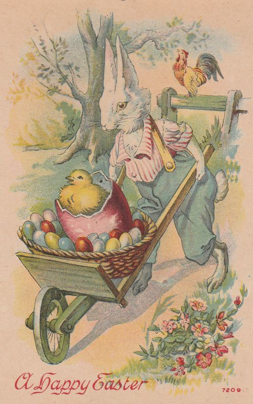 Rabbit Gentleman with Wheelbarrow of Chick and Eggs - Happy Easter Greetings - Divided Back
