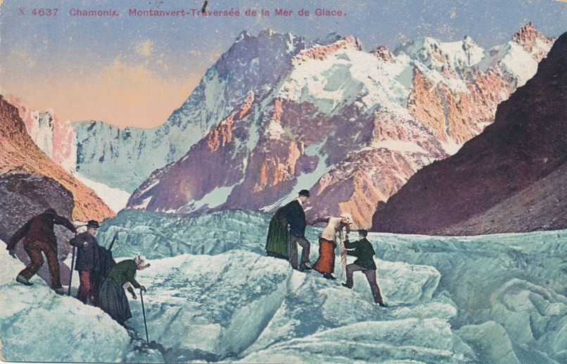Crossing Glacier near Chamonix, France (Note latest climbing gear) - Divided Back