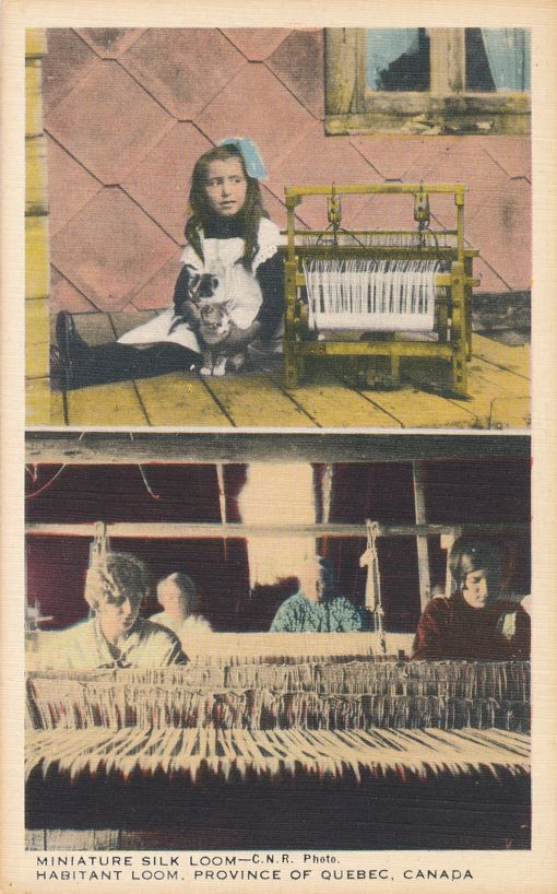 Miniature Silk Loom and Habitant Loom - Quebec, Canada - Linen Card