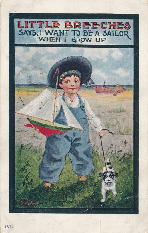 Little Breeches Toy Sailboat and Dog - a/s Wall - pm 1907 at Chicago IL - Divided Back