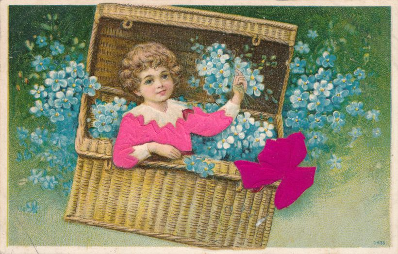 Girl in Trunk of Flowers - General Greetings - Silk Blouse and Bow - pm 1908 at South New Berlin NY - Divided Back