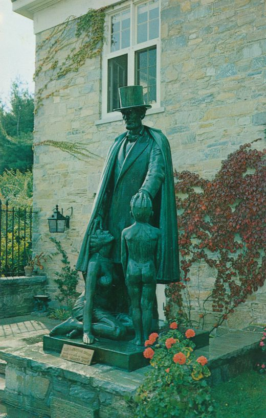 Statue of Lincoln and Nude Boy - Bennington, Vermont - Roadside