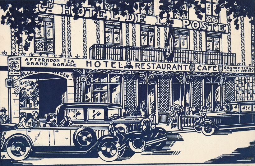 Drawing of Hotel De La Poste - France? - Artist Initials HR