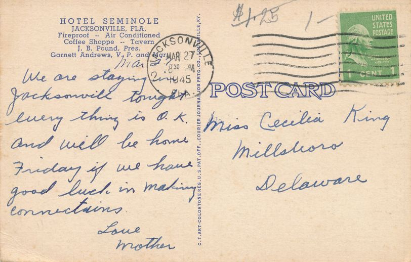 Hotel Seminole, Jacksonville Florica and Other J. B. Pound Hotels - pm 1945 - Linen Card