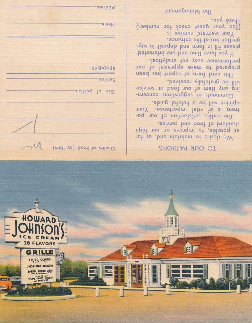 Howard Johnson Restaurant 28 Flavors of Ice Cream - Suggestion Card - Roadside - Linen Card