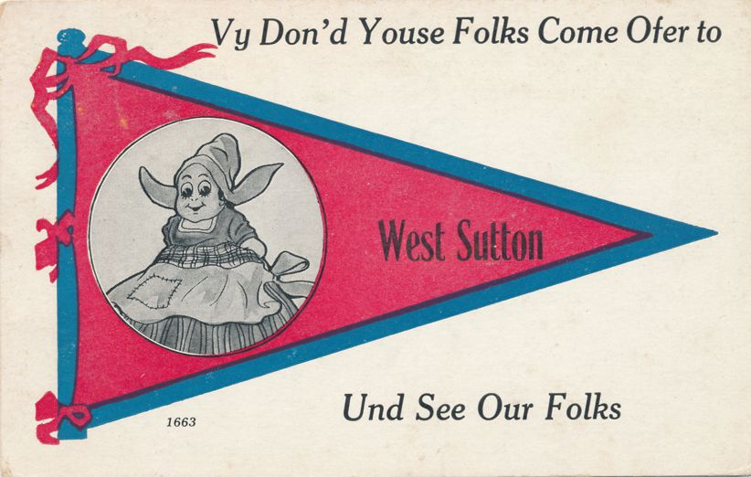 Dutch Girl Pennant Card - West Sutton, Worcester County, Massachusetts - pm 1913 at Millbury MA - Divided Back
