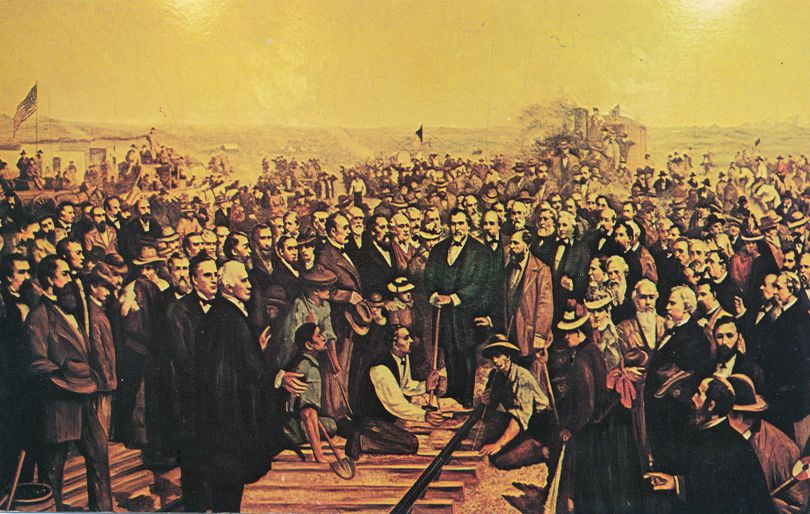 Completion of Trans-Continental Railway at Promontory, Utah from Thomas Hill Painting