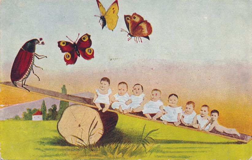 Multiple Babies Greetings - Seesaw, Beetle, Butterlfy - Divided Back