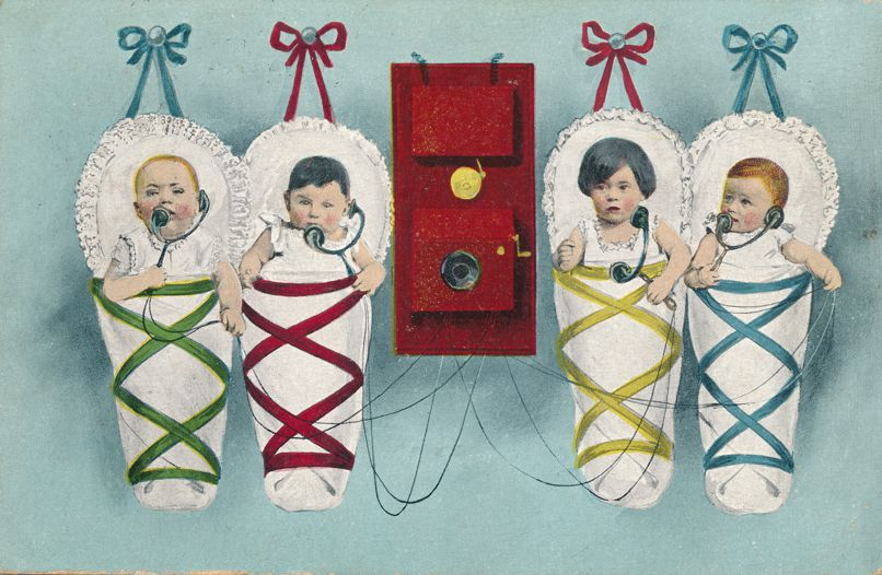Multiple Babies Greetings - Four Babies talking on Telephone B.K.W.I. - RPO 1908 Butte & Salt Lake City - Divided Back