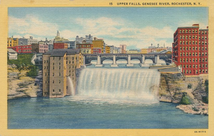 playle 39 s upper falls of the genesee river rochester new york linen card store item. Black Bedroom Furniture Sets. Home Design Ideas