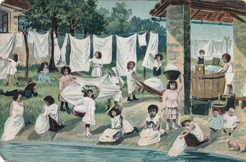 Multiple Babies Greetings - Girls doing Laundry - pm 1908 at Lees Summit Missouri - Divided Back