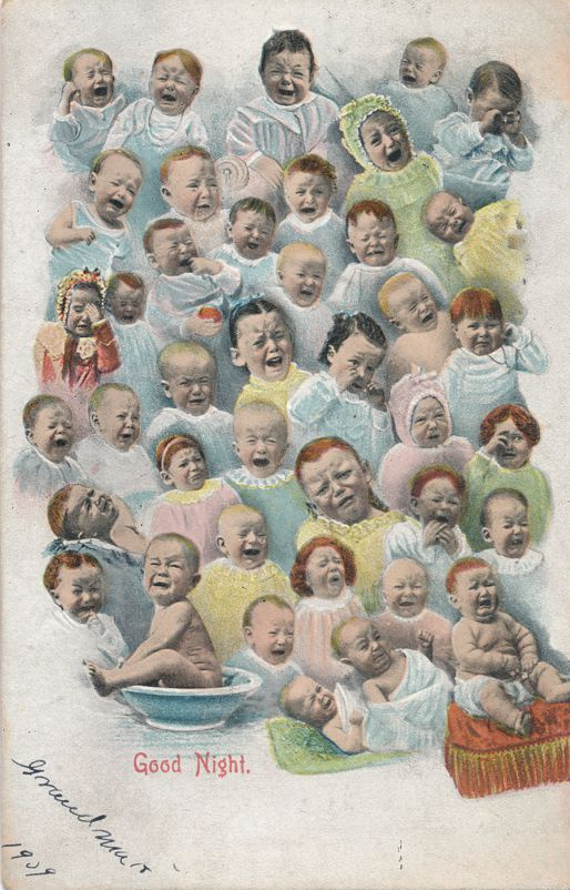 Multiple Babies Greetings - Good Night from Crying Babies - pm 1908 at Normal Illinois - Divided Back