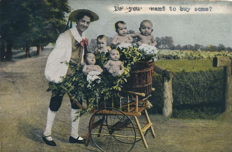 Multiple Babies Greetings - Peddler Selling Babies - pm 1906 at St Louis MO - Undivided Back