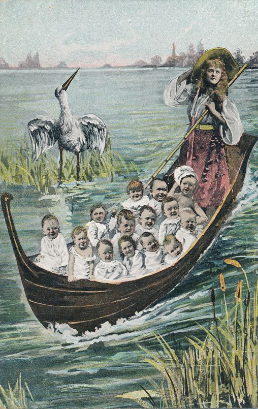 Multiple Babies Greetings - Stork and Lady Gondolier - Divided Back