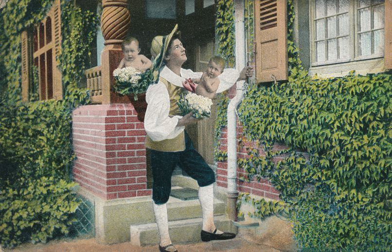 Multiple Babies Greetings - Father with Cauliflower Patch Kids - pm 1906 at Sheffield England - Undivided Back