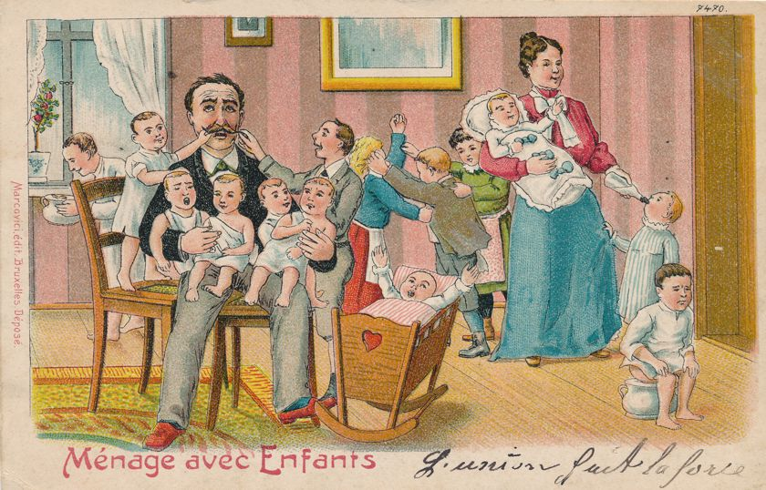 Multiple Babies Greetings Household with Infants Humor - pm 1905 at Blankenberge Belgium - Undivided Back