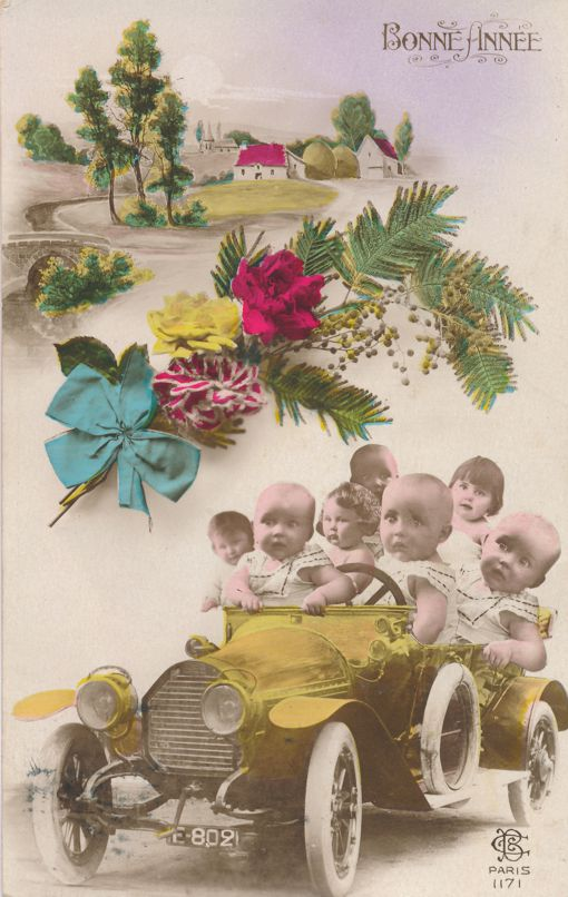 Multiple Babies Greetings - Babies in Automobile - Bonne Annee - Happy New Year - Divided Back