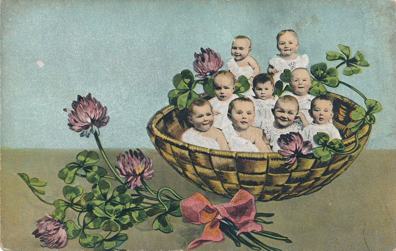 Multiple Babies Greetings - Basket of Babies - E. L. Theochrome -Divided Back