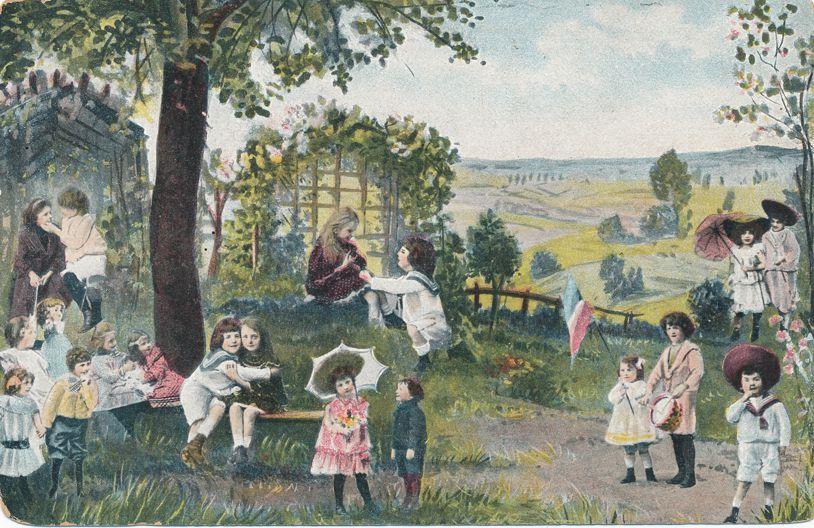 Multiple Babies Greetings - Children in Rural Setting - K.V.i. B. 12 - Undivided Back