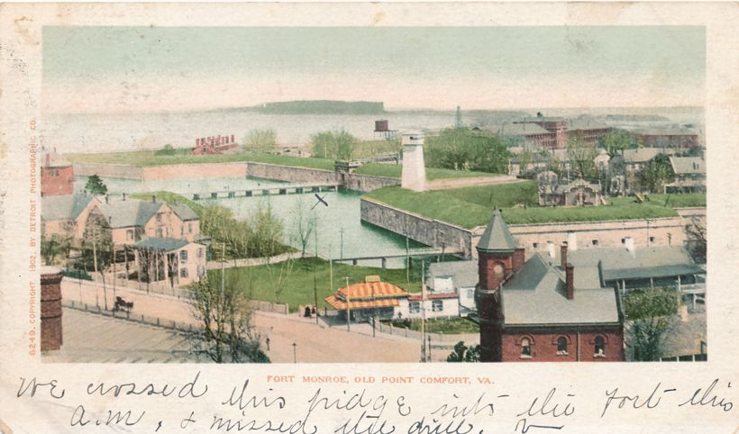 US 323 Livinston Louisana Purchase Expo DPO 1904 Fortress Monroe Virginia on Fort Monroe Postcard - Det Photo